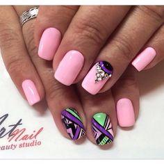 Beautiful nail colors, Black pattern nails, Colorful moon nails, Drawings on nails, Ethnic nails, Luxurious nails, Pink nails with patterns, Square nails
