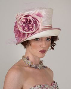 Kelly, natural with raspberry, parisisal hat with silk roses & veiling Louise Green hat – Louise Green Millinery