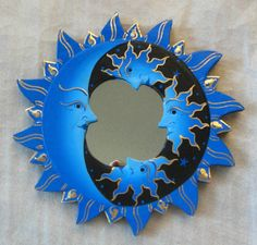 Blue Black Wall Mirror Feng Shui Decor Painted Wood Celestial Moon Stars Sun | eBay