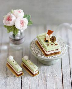 Dollhouse miniature dessert Green Tea Opera by CheilysMiniature
