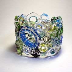 Aquatic Bracelet in hand-blown murrine glass and sterling silver. Kait Rhodes