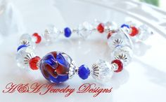 Red White and Blue Lampwork Crystal Bracelet, Patriotic Lampwork Braeelet, Red and Blue Glass Crystal Bracelet, Red White and Blue Bracelet by hhjewelrydesigns on Etsy