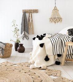 Boho bedroom, natural interiors, beach house decor