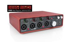 Focusrite Scarlett 18i8 USB 2.0 Audio Interface: With four XLR mic preamps, four more line inputs, ADAT and S/PDIF I/O and MIDI I/O, the Scarlett 18i8 has the ins and outs you need to build your studio.