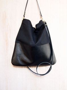 Black Leather and Black Canvas Tote Bag - HARRIS Simple and understated - no fuss casual bag. The top portion of this bag is made using a