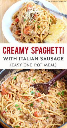 Creamy One-Pot Spaghetti with Italian Sausage - italian recipes Sweet Sausage Recipes, Ground Italian Sausage Recipes, Sausage Recipes For Dinner, Sweet Italian Sausage, Pork Recipes, Easy Dinner Recipes, Real Food Recipes, Cooking Recipes, Ground Sausage Dinner Recipe