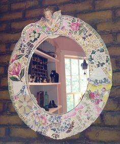 beautiful Broken China Mosaic Mirror with Vintage by DishnChipsMosaics Mirror Mosaic, Mosaic Art, Mosaic Glass, Mirror Art, Mosaic Crafts, Mosaic Projects, Broken China Crafts, Mosaic Furniture, Mosaic Pieces