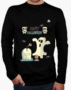 Camiseta Happy Halloween 3 Camiseta hombre manga larga  19,90 € - ¡Envío gratis…