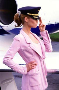 """Fashion Airlines"": Carla Bruni and Meghan Douglas by Ellen von Unwerth for US Vogue"