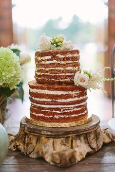 naked cake with syrup, photo by Ashleigh Jayne Photography http://ruffledblog.com/green-autumn-wedding-inspiration #weddingcake #cakes