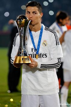 Cristiano Ronaldo of Real Madrid CF celebrates after the FIFA Club World Cup Final match between Real Madrid CF and San Lorenzo at Le Grand Stade de Marrakech on December 20, 2014 in Marrakech, Morocco.