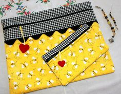 Limited Edition Bees & Houndstooth Cross Stitch Bag by sewmuch2luv, $75.00