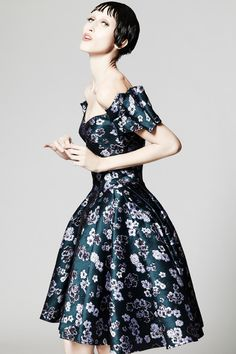 ZacPosen Navy Blue Floral Party Dresses