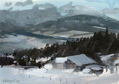 David Lloyd - Artblog. Winter scene- impressionistic. Nice brushwork