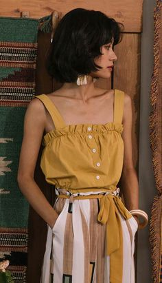 Fashiontroy Holiday collection beachwear bohemian sleeveless yellow ruffled buttoned bowknot cotton camisole spring summer