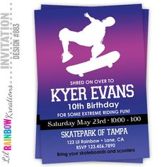 883: DIY  Skateboarding 2 Party Invitation Or Thank You Card