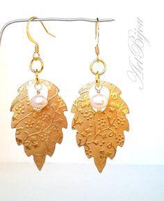 Dangle Earrings – Gold Earrings, Pearl Earrings, Women Gift, Wedding – a unique product by ArtBijou on DaWanda