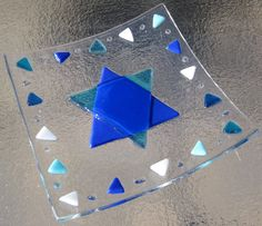 Star of David Fused Glass Plate Turquoise and Blue by Shakufdesign, $30.00