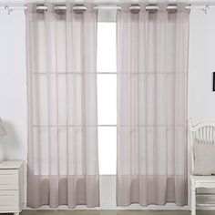 Deconovo Linen Look Sheer Drapes and Curtains Sheer Grommet Top Window Curtain for French Doors 52x84 Light Khaki 1 pair -- Read more reviews of the product by visiting the link on the image.