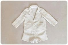 Baby boy baptism outfit Ring bearer outfit Wedding party outfit 1st birthday outfit Boys linen suit Photo prop