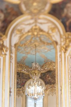 Paris Photograph - Gilt and Blue Chamber, Elegant Chandelier Fine Art Photography, Paris Art Print, French Home Decor, Large Wall Art - Ultra Photography