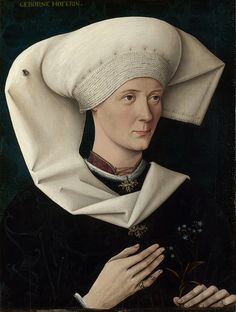 """""""Portrait of a Woman of the Hofer Family"""", c. 1470, by an unknown artist. """"The sitter's family is identified by the inscription (born a Hofer), although her precise identity is unknown. She holds a forget-me-not, presumably for remembrance. On her headdress is a fly, either a symbol of mortality or a reminder of the artist's skills of illusion. The artist worked in Southern Germany; the portrait probably dates from about 1470."""""""