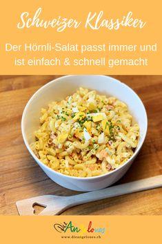 """In der Schweiz gehört das """"Hörnli"""" unbestritten zu den beliebtesten Pasta-Arten. Insbesondere bei Kindern. Wenn man in der Schweiz also von einem Pasta-Salat spricht, so geht man stillschweigend davon aus, dass es sich um einen Hörnli-Salat handelt. Der Hörnli-Salat ist ein Klassiker auf dem sommerlichen Familientisch. Mit unserem Rezept ist er einfach und schnell zubereitet und schmeckt der ganzen Familie #DieAngelones #LaCucinaAngelone Pasta Salat, Foodblogger, Grains, Rice, Meat, Side Dish Recipes, Healthy Salads, Seeds, Korn"""