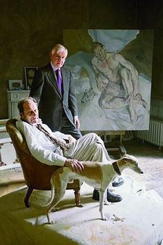 Lucian Freud with his dealer and his dog Eli