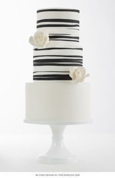 Black and White Organic Paint Stroke Striped Cake