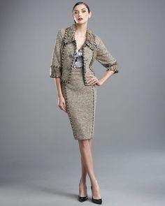 St. John Couture Lace-Knit Jacket & Spun-Knit Skirt Oak Multi SZ 6 NWT $2890  #StJohn
