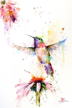 Watercolor hummingbird and flowers.