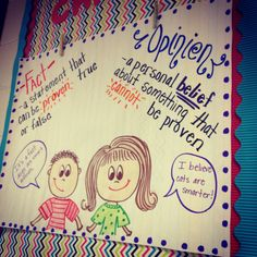 Fact and opinion anchor chart.