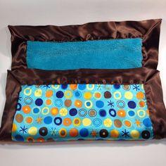 "Comfort Silkie Security Blanket Lovey Blue Brown Satin Trim Back Lovey 16"" x 20"" #ComfortSilkie"
