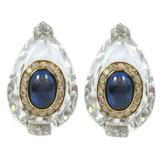 David Webb Rock Crystal Platinum Yellow Gold Cabochon Sapphire Diamond Ear Clips | From a unique collection of vintage clip-on earrings at https://www.1stdibs.com/jewelry/earrings/clip-on-earrings/