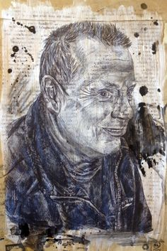 Emulsion and acetone printing over an envelope, with mono printing, biro, charcoal and ink splatters. from my exam sketchbook. Ink Splatter, Biro, Art Sketchbook, Newspaper, Printmaking, Mount Rushmore, Lion Sculpture, Acetone, Fine Art