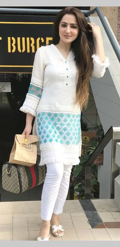 21 Latest Casual Style Outfits That Will Inspire You - Fashion Ideas - Luxury Style Pakistani Dresses Casual, Pakistani Dress Design, Indian Dresses, Indian Outfits, Pakistani Fashion Casual, Kurta Designs Women, Kurti Neck Designs, Blouse Designs, Designer Kurtis
