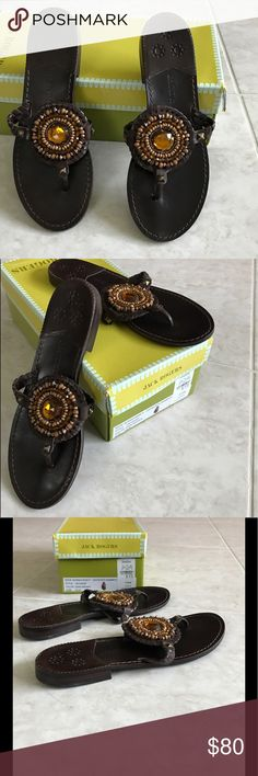 🌟Jack Rogers Georgica Leather w/ornaments Sandals 🌟Jack Rogers Georgica Novelty Leather with Ornaments dark brown sandals, size 8.5. Gently loved, excellent condition!🌟 Jack Rogers Shoes Sandals