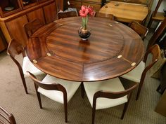 The 'Lotus' Table - Rare Dyrlund 'Flip-Flap' Danish Modern Expanding Dining Table