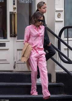 Bed it like Beckham! On Tuesday, Victoria embraced pyjama chic in a hot pink ensemble as she went vintage shopping in NYC with Romeo