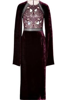 Marios Schwab Velvet/Lace Embellished Dress in Port