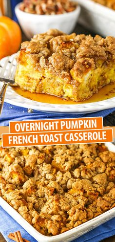 Pumpkin Breakfast, Fall Breakfast, Sweet Breakfast, Breakfast Ideas, Breakfast Club, Baked French Toast Casserole, French Toast Bake, Oven Baked French Toast, Easy Breakfast Casserole Recipes