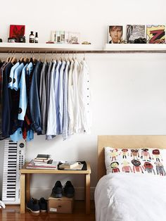 open closet in a bedroom | Small bedroom | Small space ideas.