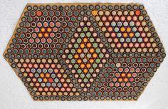 Antique Wool Felt Small Penny Rug Geometric Optical Design~♥~