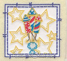 USA Fireworks American 4th of July Stars Square Applique Machine Embroidery Design