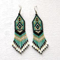 Turquoise seed bead earrings peyote earrings by Anabel27shop,