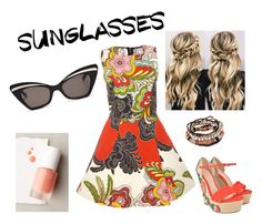 """""""Retro Sunglasses w/ Orange outfit"""" by shesonfire-1 on Polyvore featuring Karen Walker, Alice + Olivia, Gucci, rms beauty, modern and vintage"""