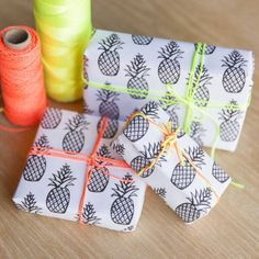 Download and print this free pineapple wrapping paper. Wrap your gifts in this graphic print and tie it up with some bright ribbon.