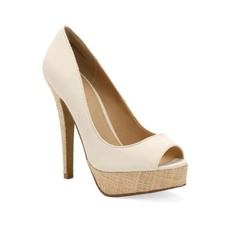 Myra Beige - These peep-toe platform pumps are so stylish! Don't you love the woven platform on these? It's the classic shoe with a special twist.