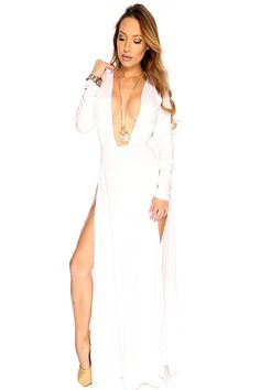 Turn heads in this stunning maxi dress! Featuring plunging V neck, long sleeve, cut outs, double side slit, followed by a fitted wear.http://www.amiclubwear.com/shoes.html