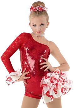 """Red Sequined Biketard and Lace Asymmetrical Sleeve with Lip Printed Side Bustle and End of Sleeve - """"My Crush"""" - Not Sure About the Lip Print but Otherwise I Like It"""